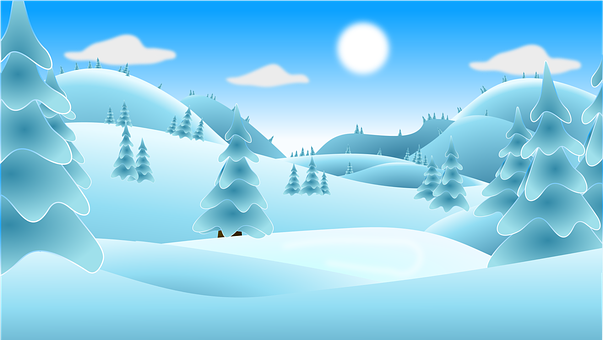 Digital Winter Landscape in shades of blue and green