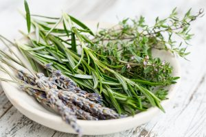 Plate with fresh herbs