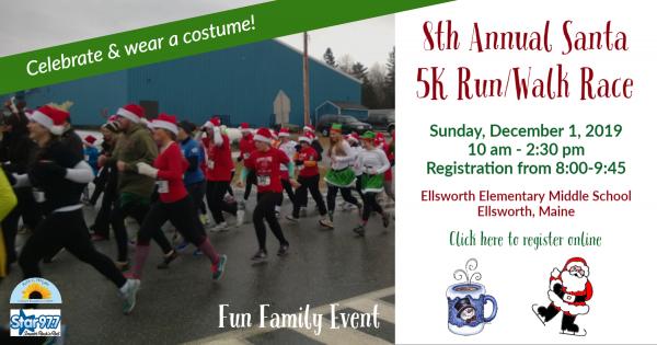 Photo of people dressed as Santa and elves running